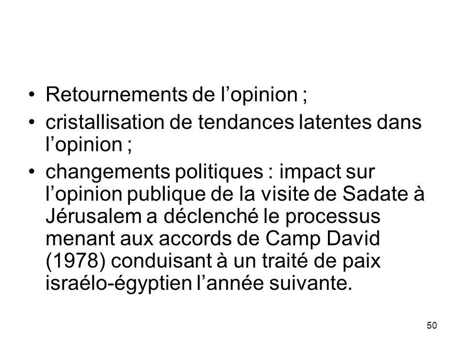 50 Retournements de lopinion ; cristallisation de tendances latentes dans lopinion ; changements politiques : impact sur lopinion publique de la visit