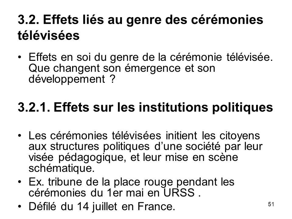 51 3.2. Effets liés au genre des cérémonies télévisées Effets en soi du genre de la cérémonie télévisée. Que changent son émergence et son développeme