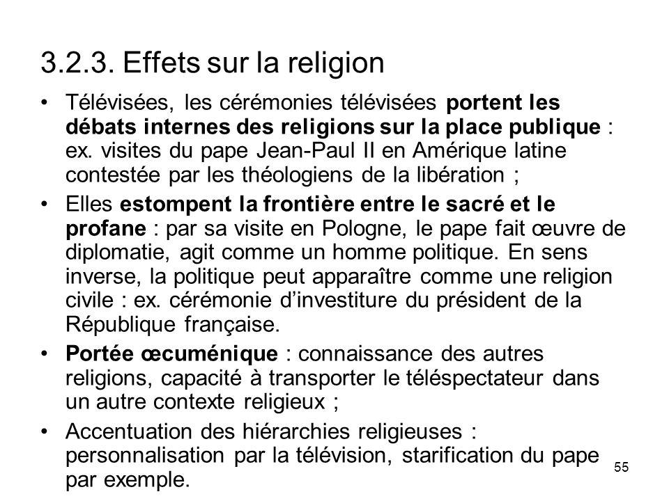 55 3.2.3. Effets sur la religion Télévisées, les cérémonies télévisées portent les débats internes des religions sur la place publique : ex. visites d