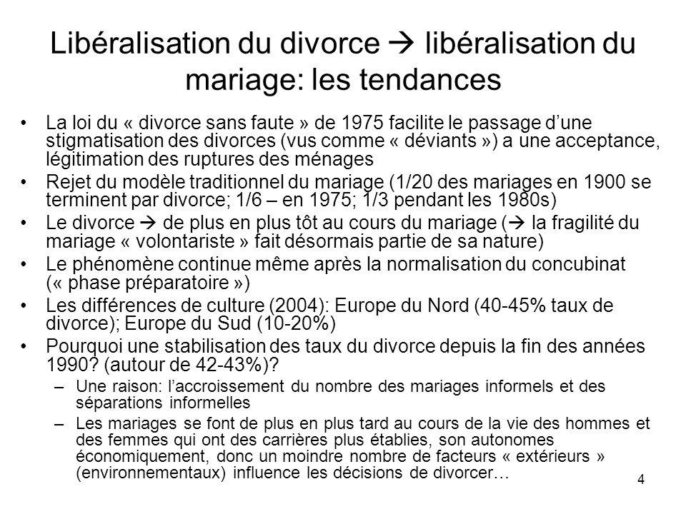 4 Libéralisation du divorce libéralisation du mariage: les tendances La loi du « divorce sans faute » de 1975 facilite le passage dune stigmatisation