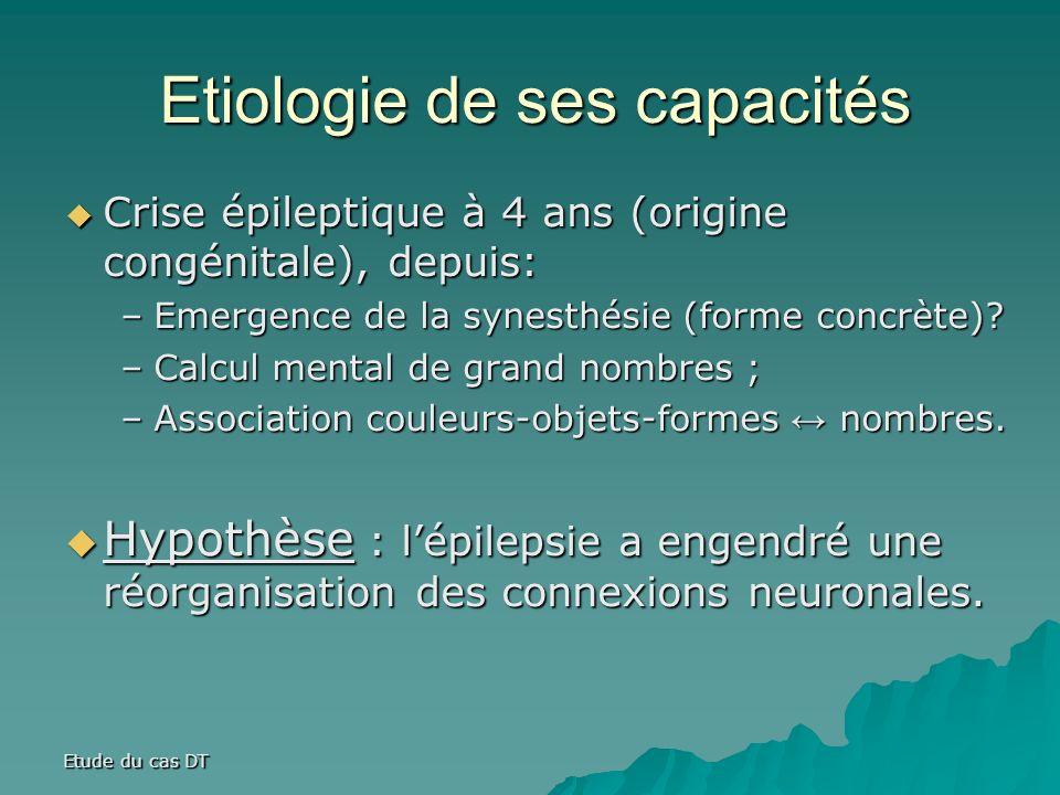 Etude du cas DT Etiologie de ses capacités Crise épileptique à 4 ans (origine congénitale), depuis: Crise épileptique à 4 ans (origine congénitale), depuis: –Emergence de la synesthésie (forme concrète).