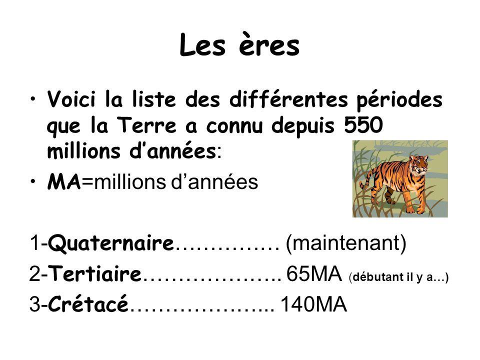 Les ères Voici la liste des différentes périodes que la Terre a connu depuis 550 millions dannées : MA =millions dannées 1- Quaternaire …………… (mainten