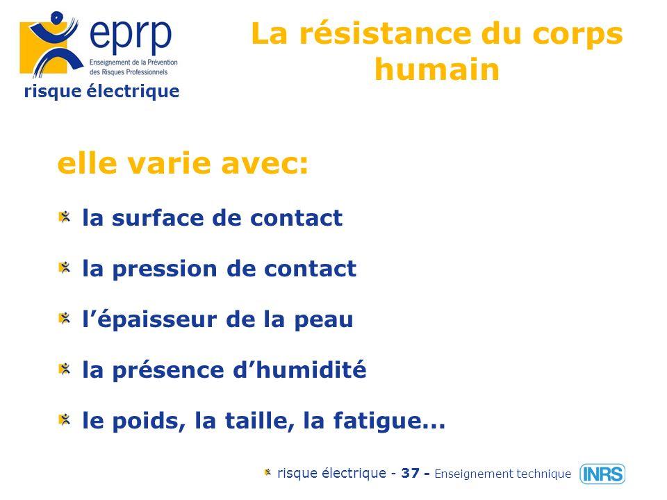 risque électrique risque électrique - 36 - Enseignement technique Le courant et le cœur en fonction des types de contacts tête-pied droit: 9.7 % main droite- pied gauche: 7.9% main-main : 2.9 % pied-pied: 0% tête-main gauche: 1.8%