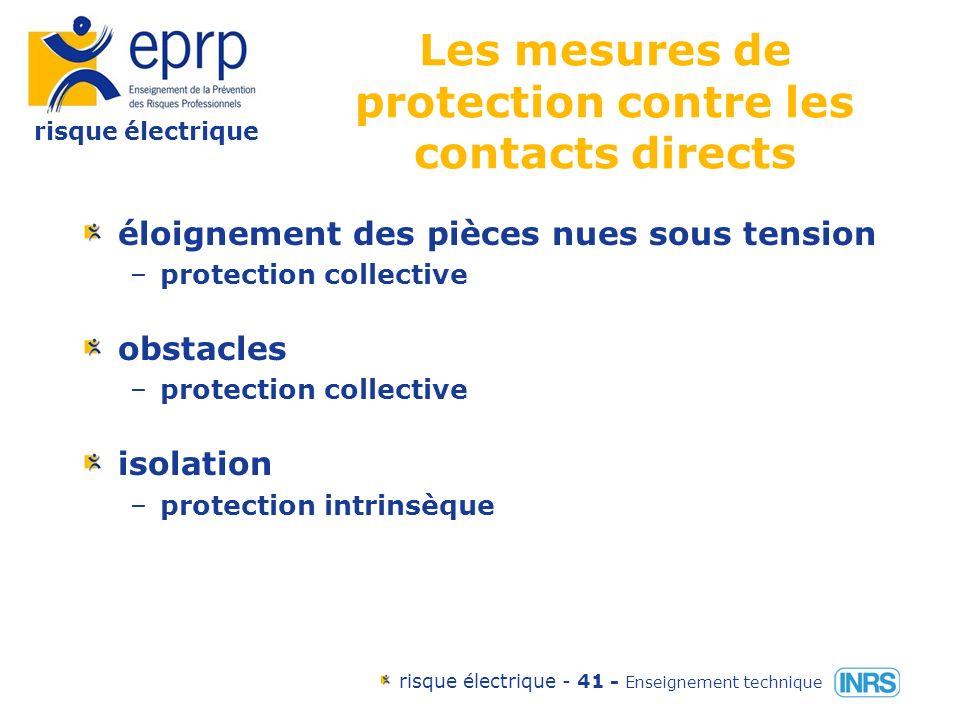 risque électrique risque électrique - 40 - Enseignement technique Les mesures de protection