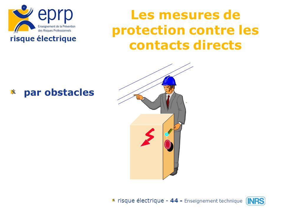 risque électrique risque électrique - 43 - Enseignement technique Les mesures de protection contre les contacts directs par isolation