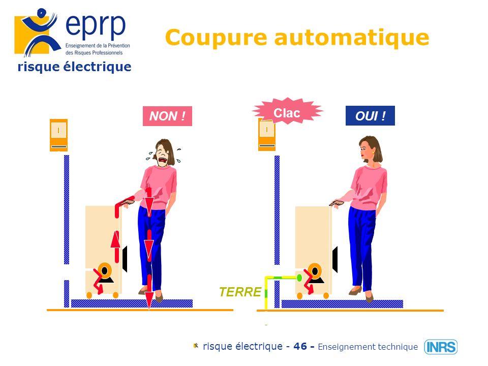 risque électrique risque électrique - 45 - Enseignement technique Les mesures de protection contre les contacts indirects par coupure automatique par lemploi de matériel de classe 2 par séparation de circuit