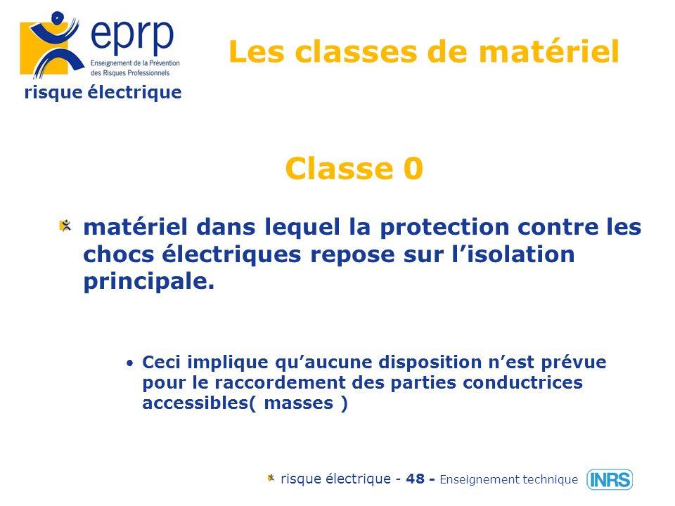 risque électrique risque électrique - 47 - Enseignement technique Les classes de matériel