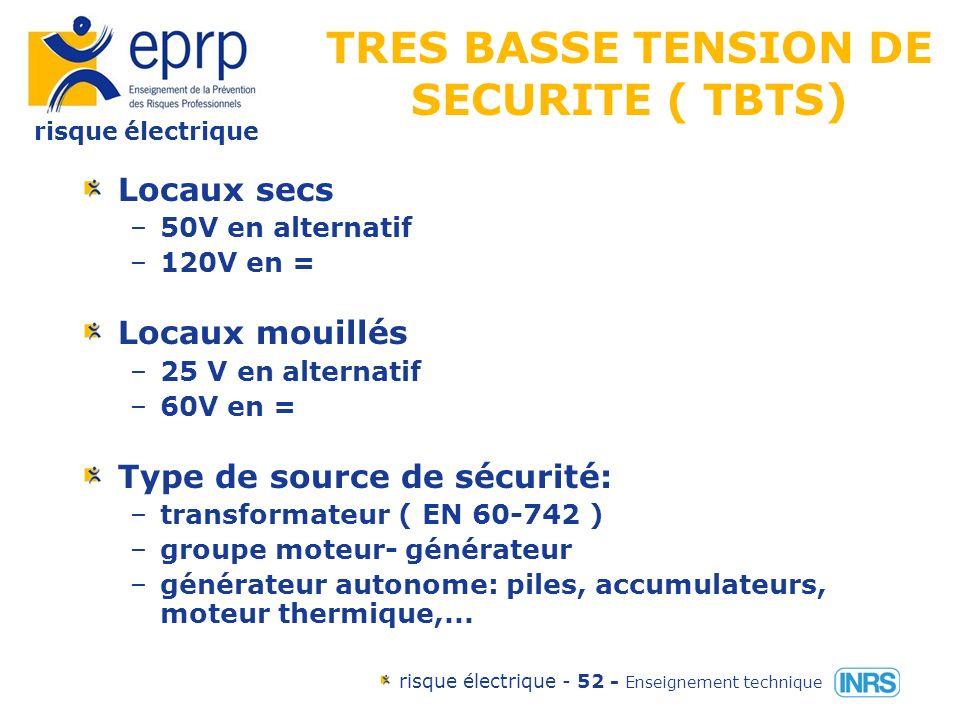 risque électrique risque électrique - 51 - Enseignement technique Les classes de matériel Classe III matériel dans lequel la protection contre les chocs électriques repose sur lalimentation sous très basse tension de sécurité TBTS.