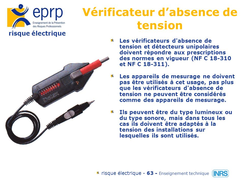 risque électrique risque électrique - 62 - Enseignement technique Tapis isolant Attention à la tension nominale des ouvrages .