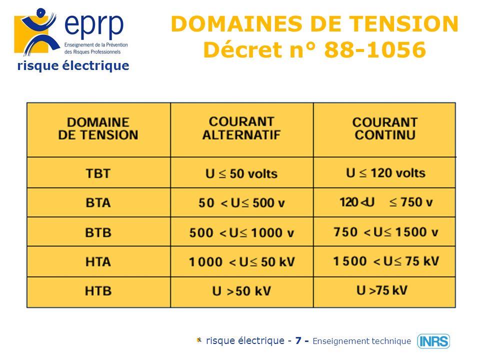 risque électrique risque électrique - 7 - Enseignement technique DOMAINES DE TENSION Décret n° 88-1056