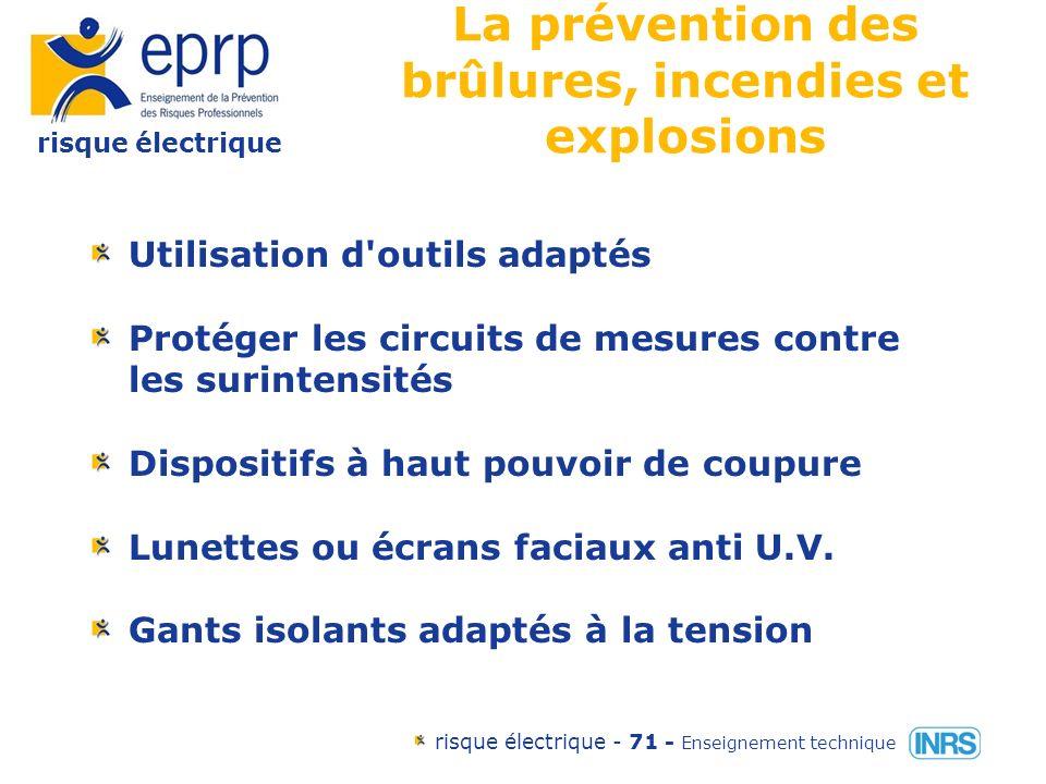 risque électrique risque électrique - 70 - Enseignement technique Plan dintervention du SST