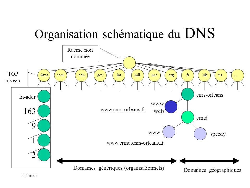 x. laure Organisation schématique du DNS Arpa com edu gov int mil net org fr uk us … cnrs-orleans www web crmd www speedy www.crmd.cnrs-orleans.fr www