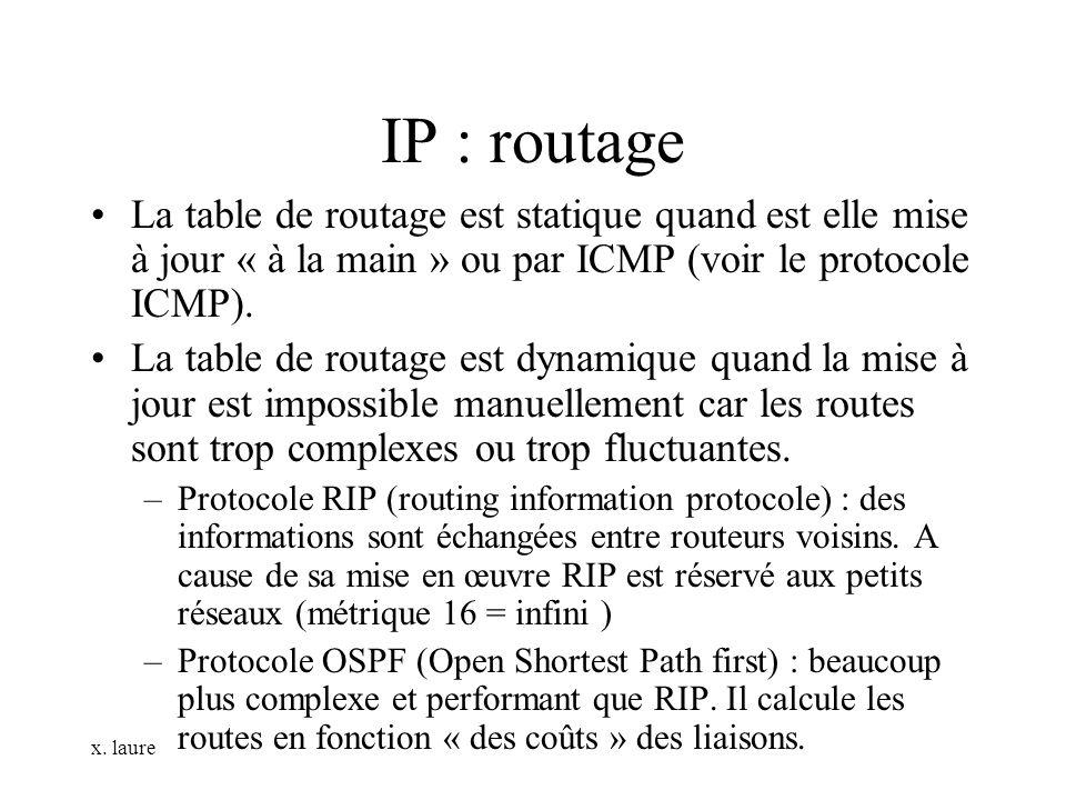 x. laure IP : routage La table de routage est statique quand est elle mise à jour « à la main » ou par ICMP (voir le protocole ICMP). La table de rout