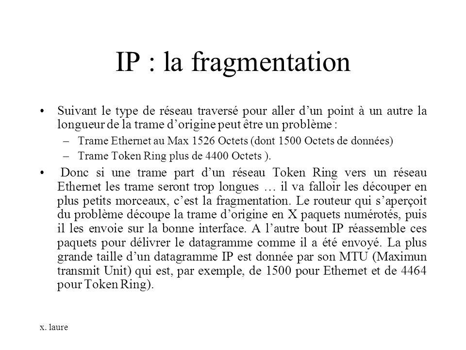x. laure IP : la fragmentation Suivant le type de réseau traversé pour aller dun point à un autre la longueur de la trame dorigine peut être un problè
