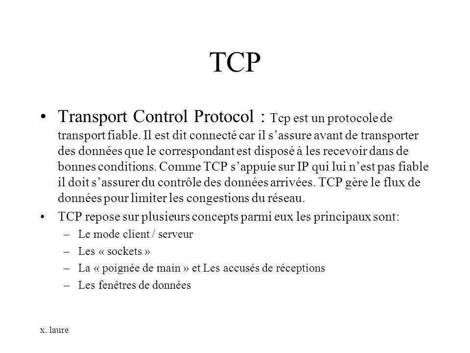 x. laure TCP Transport Control Protocol : Tcp est un protocole de transport fiable. Il est dit connecté car il sassure avant de transporter des donnée