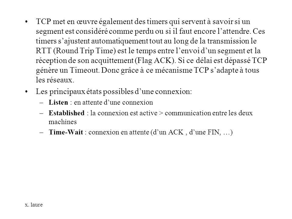 x. laure TCP met en œuvre également des timers qui servent à savoir si un segment est considéré comme perdu ou si il faut encore lattendre. Ces timers