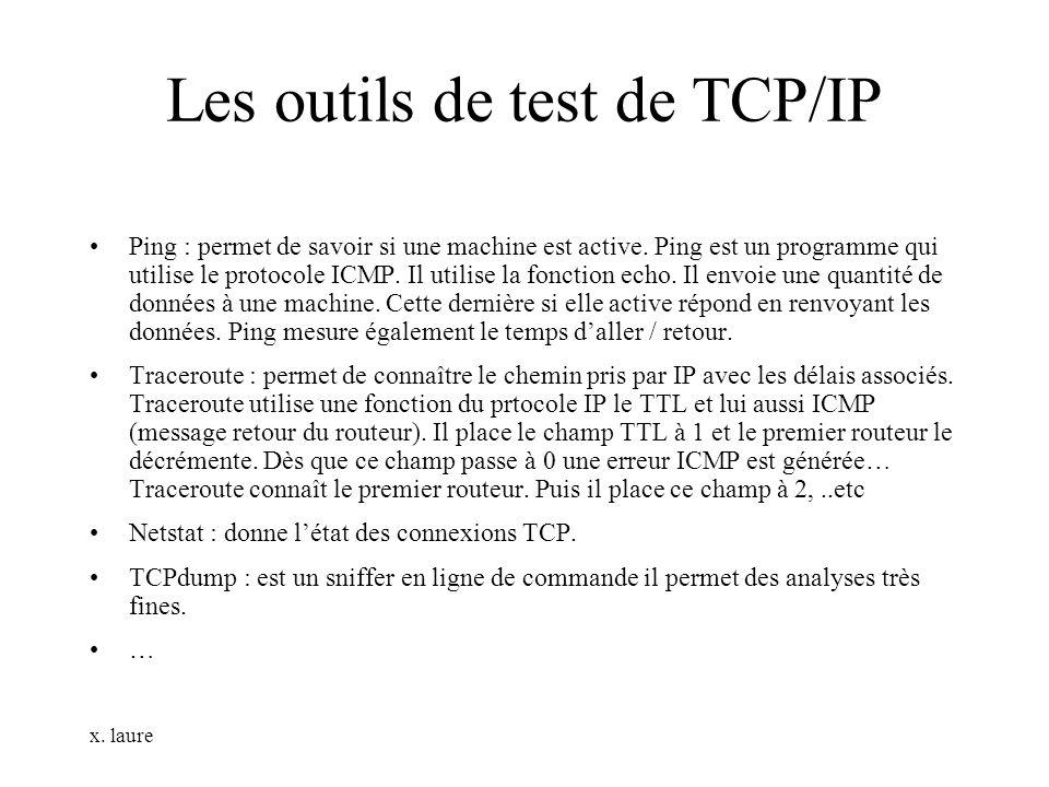 x. laure Les outils de test de TCP/IP Ping : permet de savoir si une machine est active. Ping est un programme qui utilise le protocole ICMP. Il utili