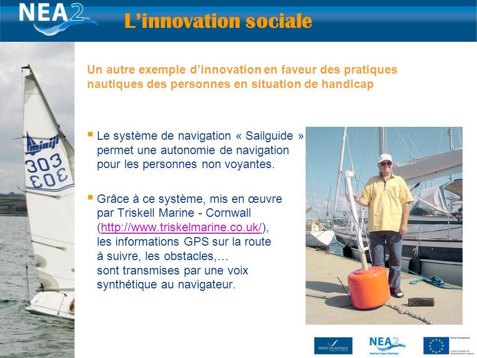 25 Un autre exemple dinnovation en faveur des pratiques nautiques des personnes en situation de handicap Le système de navigation « Sailguide » (assistance GPS) qui permet une autonomie de navigation pour les personnes non voyantes.