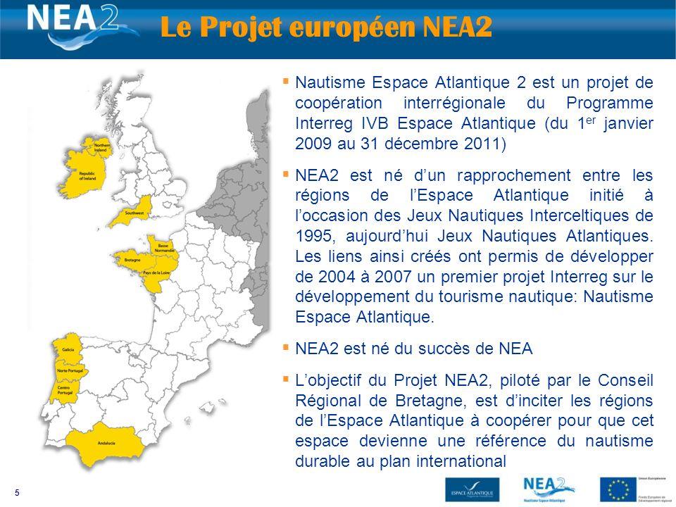 5 Nautisme Espace Atlantique 2 est un projet de coopération interrégionale du Programme Interreg IVB Espace Atlantique (du 1 er janvier 2009 au 31 décembre 2011) NEA2 est né dun rapprochement entre les régions de lEspace Atlantique initié à loccasion des Jeux Nautiques Interceltiques de 1995, aujourdhui Jeux Nautiques Atlantiques.