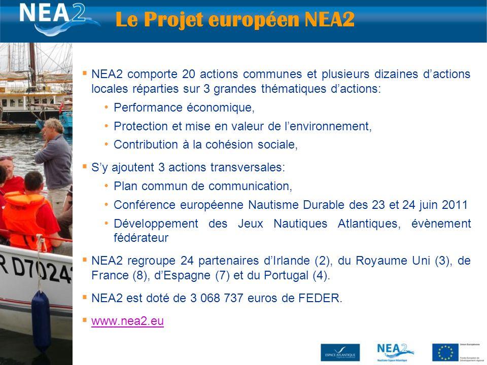 6 NEA2 comporte 20 actions communes et plusieurs dizaines dactions locales réparties sur 3 grandes thématiques dactions: Performance économique, Protection et mise en valeur de lenvironnement, Contribution à la cohésion sociale, Sy ajoutent 3 actions transversales: Plan commun de communication, Conférence européenne Nautisme Durable des 23 et 24 juin 2011 Développement des Jeux Nautiques Atlantiques, évènement fédérateur NEA2 regroupe 24 partenaires dIrlande (2), du Royaume Uni (3), de France (8), dEspagne (7) et du Portugal (4).