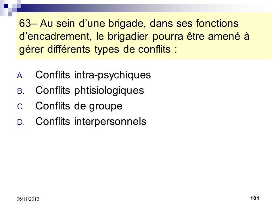 101 06/11/2013 63– Au sein dune brigade, dans ses fonctions dencadrement, le brigadier pourra être amené à gérer différents types de conflits : A. Con