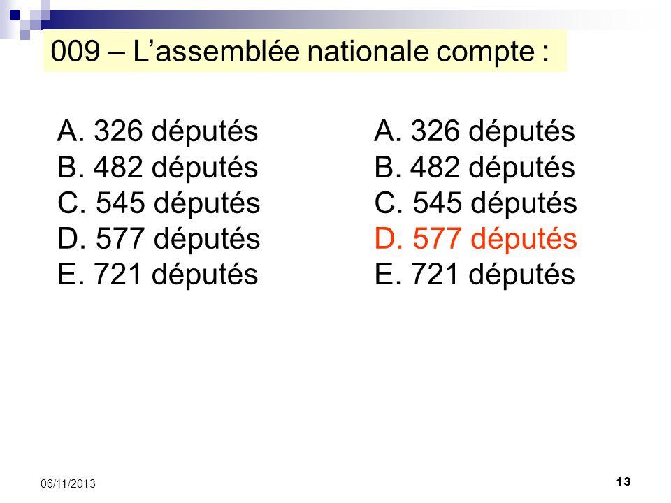 13 06/11/2013 009 – Lassemblée nationale compte : A. 326 députés B. 482 députés C. 545 députés D. 577 députés E. 721 députés A. 326 députés B. 482 dép