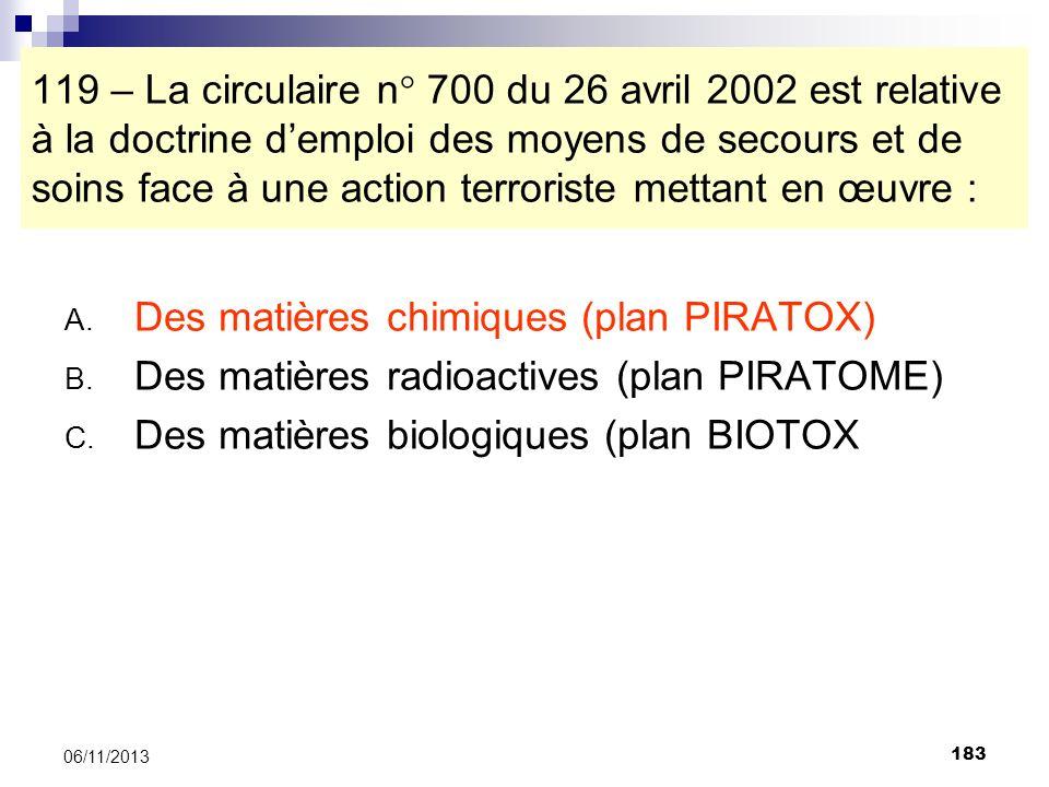 183 06/11/2013 119 – La circulaire n° 700 du 26 avril 2002 est relative à la doctrine demploi des moyens de secours et de soins face à une action terr