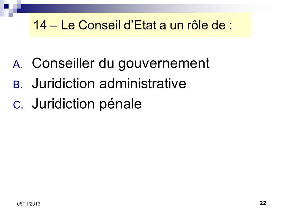 22 06/11/2013 14 – Le Conseil dEtat a un rôle de : A. Conseiller du gouvernement B. Juridiction administrative C. Juridiction pénale