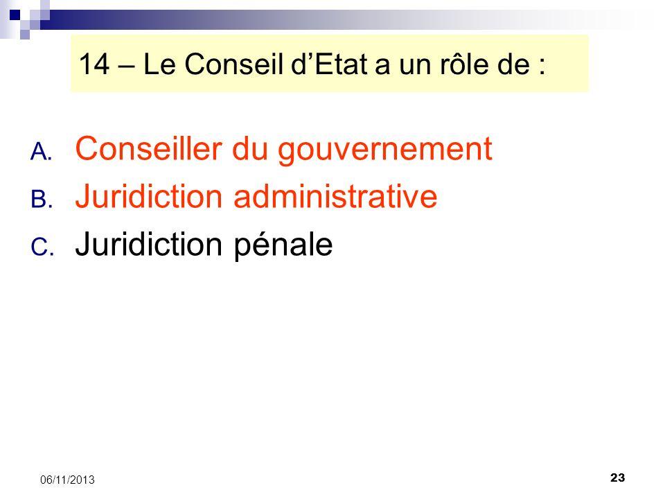 23 06/11/2013 14 – Le Conseil dEtat a un rôle de : A. Conseiller du gouvernement B. Juridiction administrative C. Juridiction pénale
