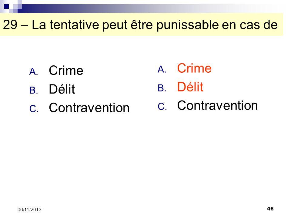 46 06/11/2013 29 – La tentative peut être punissable en cas de A. Crime B. Délit C. Contravention A. Crime B. Délit C. Contravention