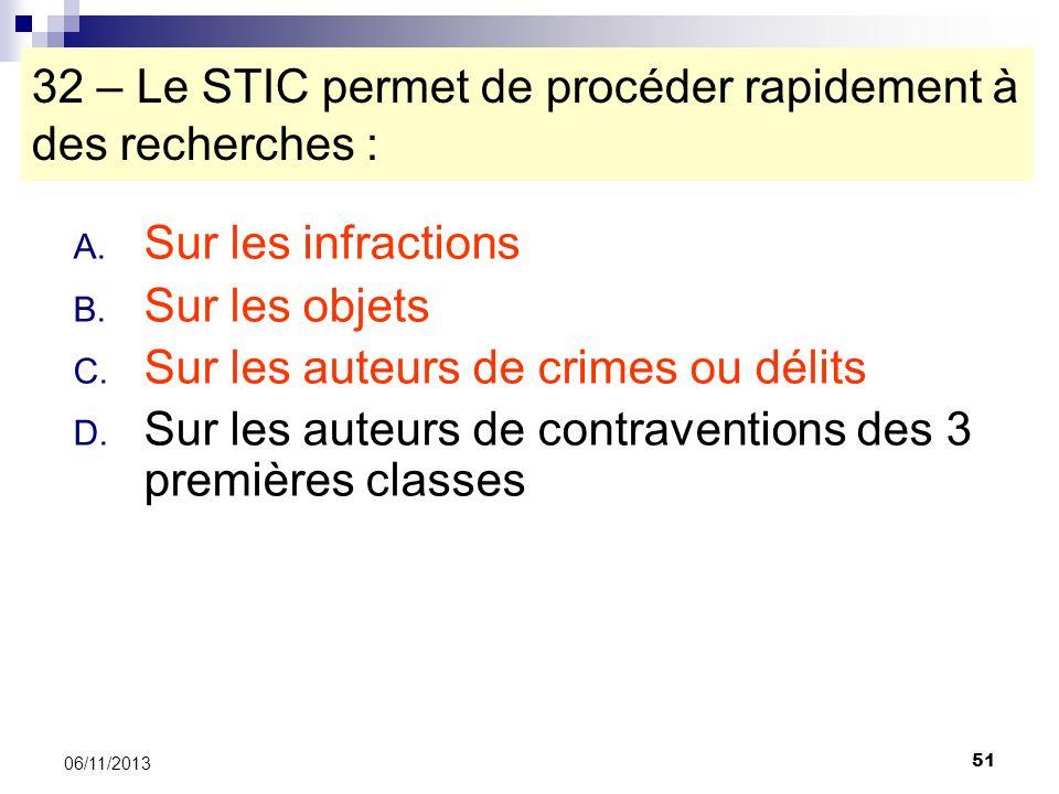 51 06/11/2013 32 – Le STIC permet de procéder rapidement à des recherches : A. Sur les infractions B. Sur les objets C. Sur les auteurs de crimes ou d