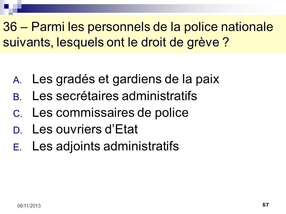 57 06/11/2013 36 – Parmi les personnels de la police nationale suivants, lesquels ont le droit de grève ? A. Les gradés et gardiens de la paix B. Les