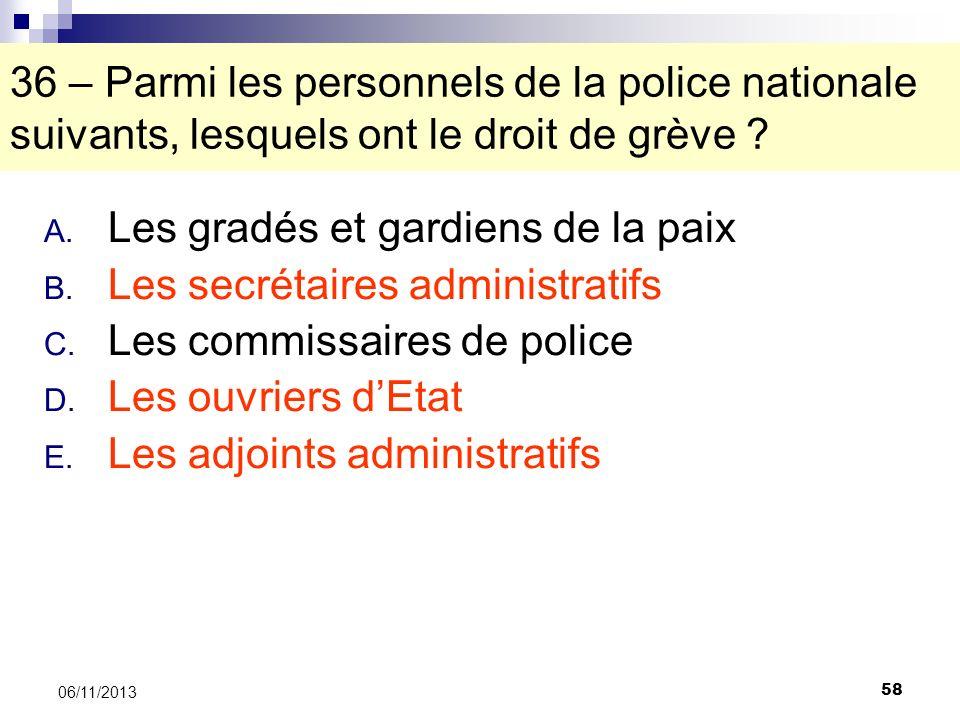 58 06/11/2013 36 – Parmi les personnels de la police nationale suivants, lesquels ont le droit de grève ? A. Les gradés et gardiens de la paix B. Les