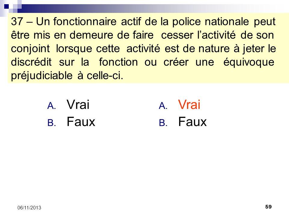 59 06/11/2013 37 – Un fonctionnaire actif de la police nationale peut être mis en demeure de faire cesser lactivité de son conjoint lorsque cette acti