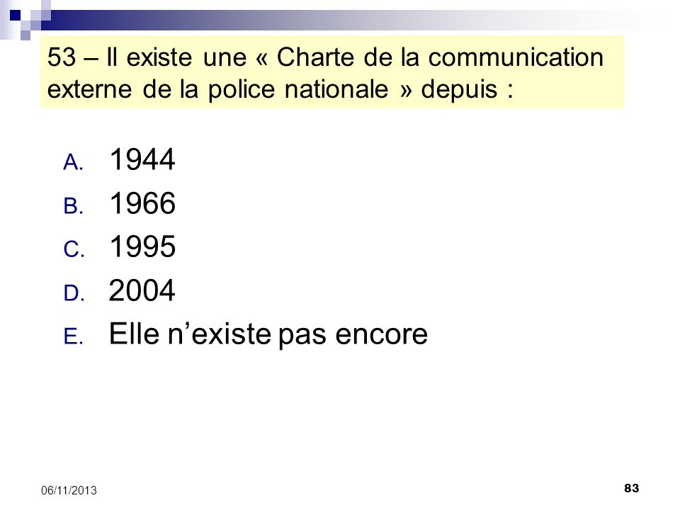 83 06/11/2013 53 – Il existe une « Charte de la communication externe de la police nationale » depuis : A. 1944 B. 1966 C. 1995 D. 2004 E. Elle nexist