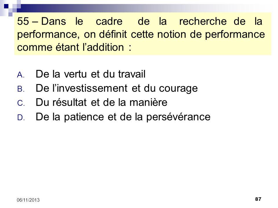 87 06/11/2013 55 – Dans le cadre de la recherche de la performance, on définit cette notion de performance comme étant laddition : A. De la vertu et d