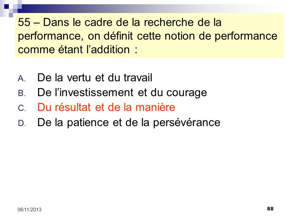 88 06/11/2013 55 – Dans le cadre de la recherche de la performance, on définit cette notion de performance comme étant laddition : A. De la vertu et d