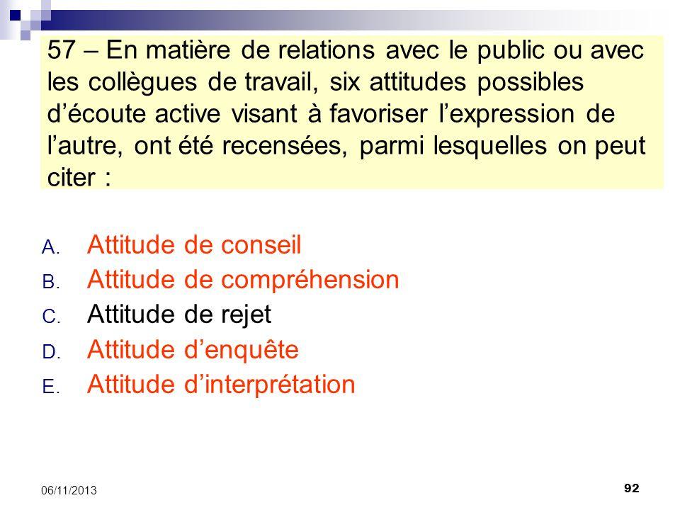 92 06/11/2013 57 – En matière de relations avec le public ou avec les collègues de travail, six attitudes possibles découte active visant à favoriser