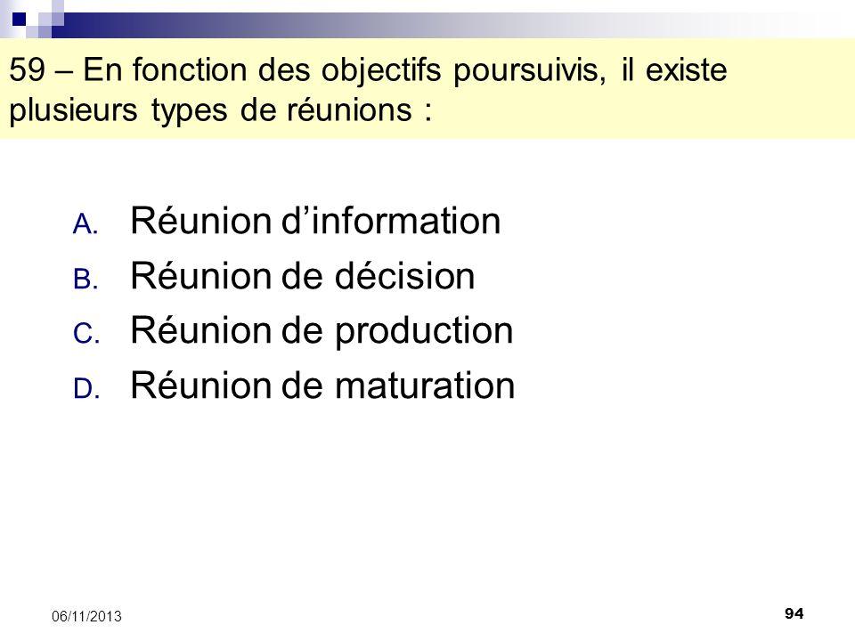 94 06/11/2013 59 – En fonction des objectifs poursuivis, il existe plusieurs types de réunions : A. Réunion dinformation B. Réunion de décision C. Réu