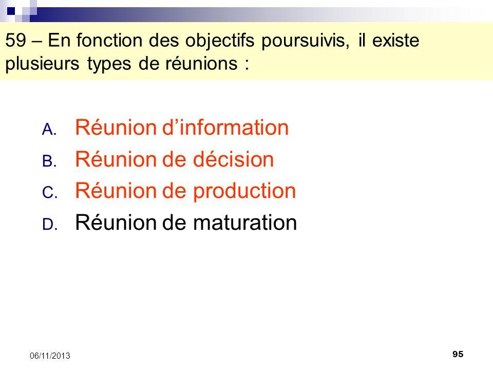 95 06/11/2013 59 – En fonction des objectifs poursuivis, il existe plusieurs types de réunions : A. Réunion dinformation B. Réunion de décision C. Réu
