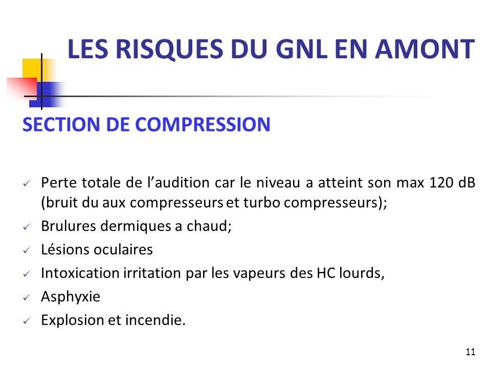 LES RISQUES DU GNL EN AMONT SECTION DE COMPRESSION Perte totale de laudition car le niveau a atteint son max 120 dB (bruit du aux compresseurs et turb