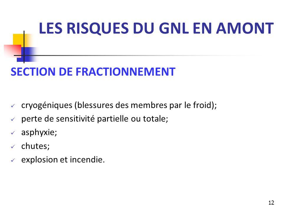 LES RISQUES DU GNL EN AMONT SECTION DE FRACTIONNEMENT cryogéniques (blessures des membres par le froid); perte de sensitivité partielle ou totale; asp