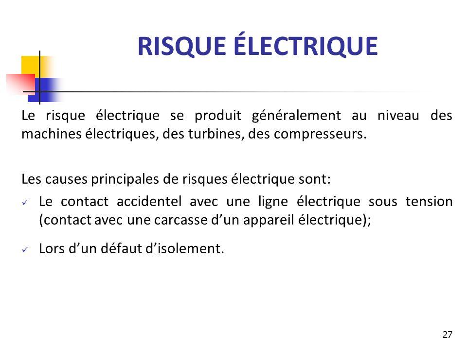 RISQUE ÉLECTRIQUE Le risque électrique se produit généralement au niveau des machines électriques, des turbines, des compresseurs. Les causes principa