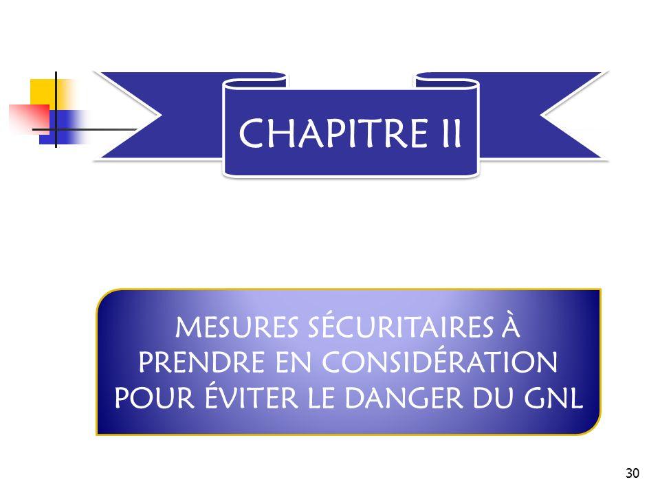 CHAPITRE II MESURES SÉCURITAIRES À PRENDRE EN CONSIDÉRATION POUR ÉVITER LE DANGER DU GNL 30