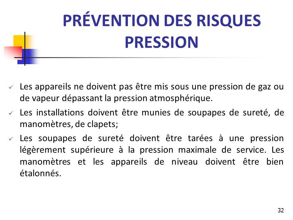 PRÉVENTION DES RISQUES PRESSION Les appareils ne doivent pas être mis sous une pression de gaz ou de vapeur dépassant la pression atmosphérique. Les i