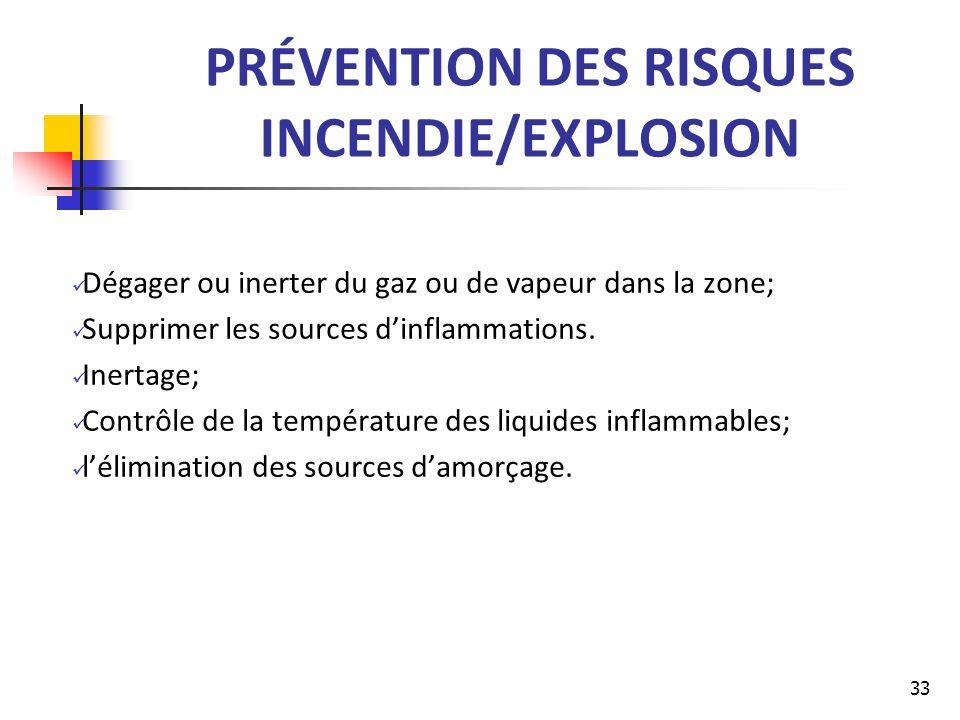 PRÉVENTION DES RISQUES INCENDIE/EXPLOSION Dégager ou inerter du gaz ou de vapeur dans la zone; Supprimer les sources dinflammations. Inertage; Contrôl