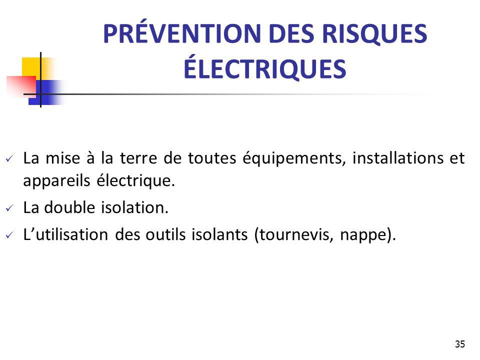 PRÉVENTION DES RISQUES ÉLECTRIQUES La mise à la terre de toutes équipements, installations et appareils électrique. La double isolation. Lutilisation