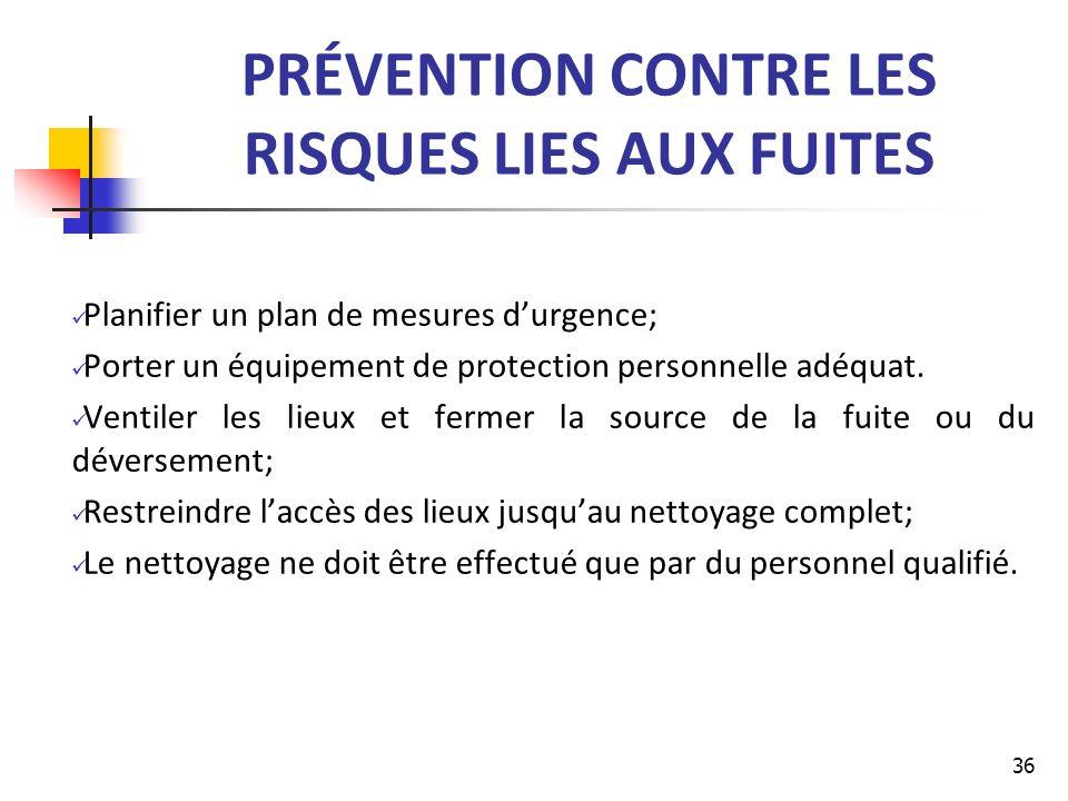 PRÉVENTION CONTRE LES RISQUES LIES AUX FUITES Planifier un plan de mesures durgence; Porter un équipement de protection personnelle adéquat. Ventiler