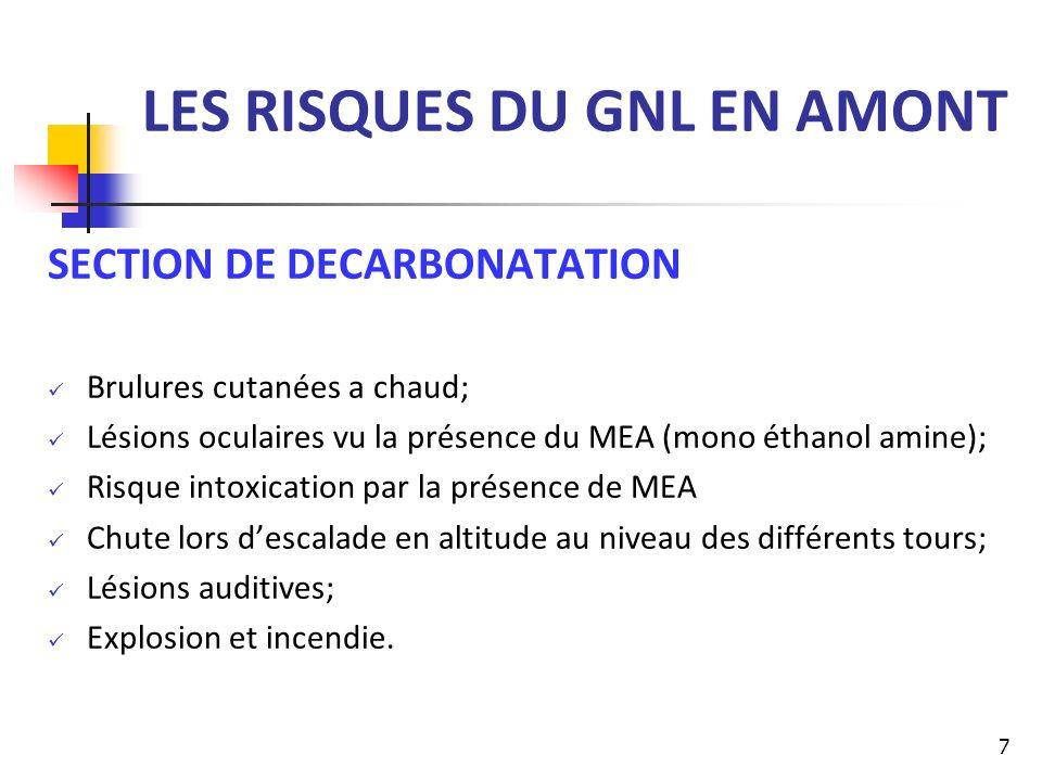 LES RISQUES DU GNL EN AMONT SECTION DE DESHYDRATATION Brulures cutanées a chaud; Risque de perte de louïe du au bruit important et continu; Asphyxie due au gaz émanant.
