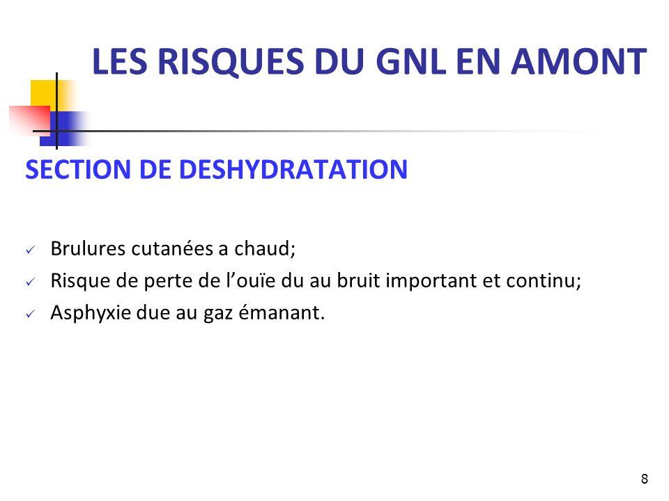 LES RISQUES DU GNL EN AMONT SECTION DE DESHYDRATATION Brulures cutanées a chaud; Risque de perte de louïe du au bruit important et continu; Asphyxie d